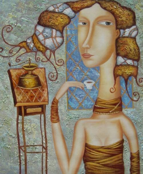 Девушка за чашкой кофе 96