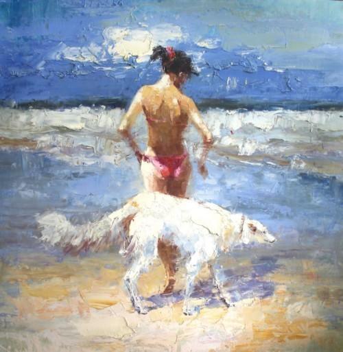 Девушка и собака на берегу моря 168