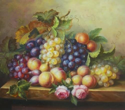 Блюдо с фруктами и два пиона 210
