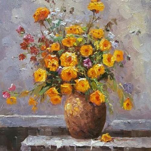 Букет желтых цветов в вазе 216