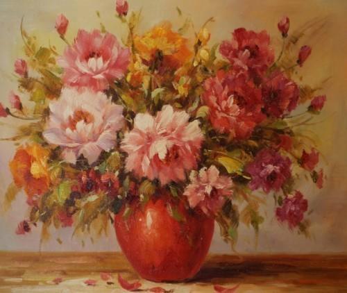 Цветы в красной вазе 218