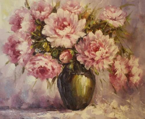 Розовые пионы в вазе 220