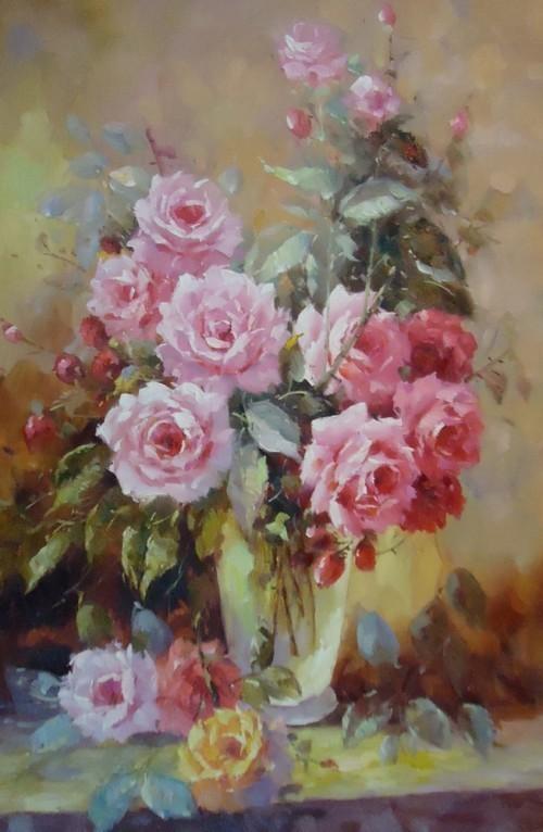 Розы в стеклянной вазе 228