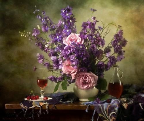 Натюрморт цветы и вино 242
