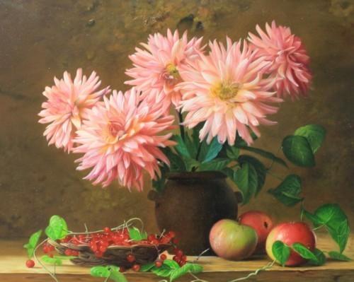 Розовые астры и яблоки 246