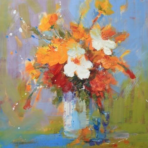 Ваза с цветами и фужеры 248