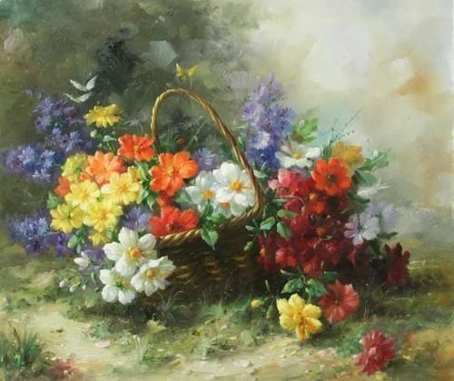 Натюрморт с цветами в корзинке 268