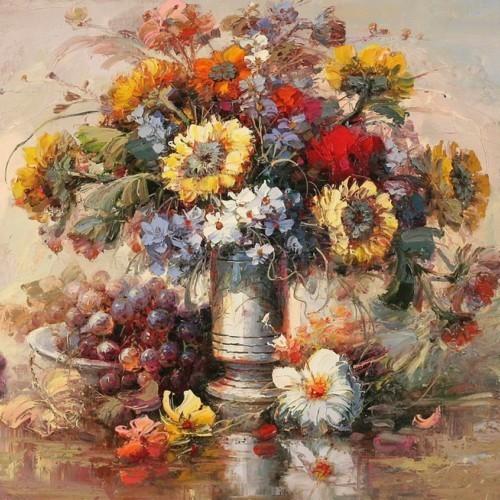 Букет цветов с тарелкой винограда 271