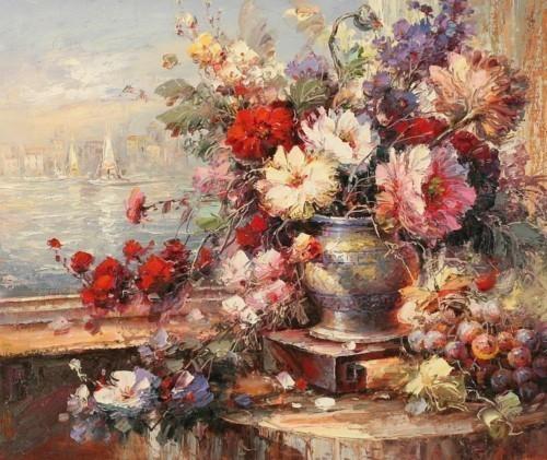 Натюрморт цветы на террасе 272