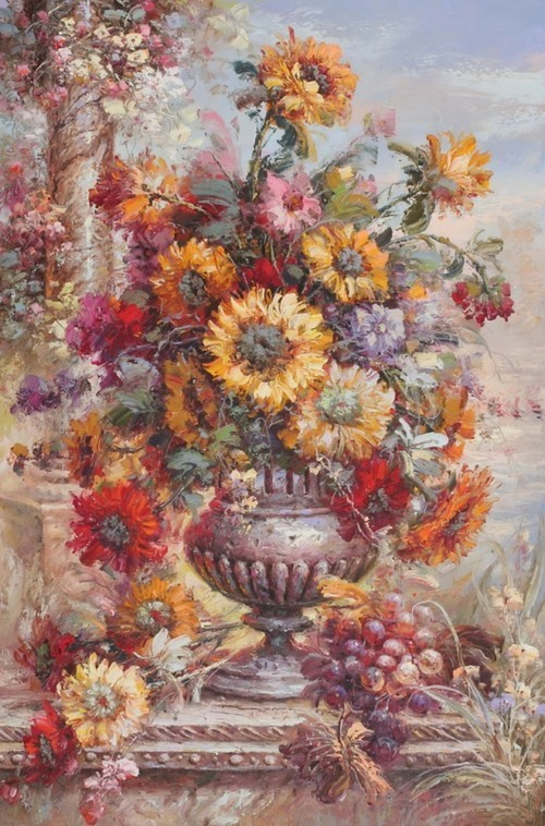 Цветы в вазе и виноград 274