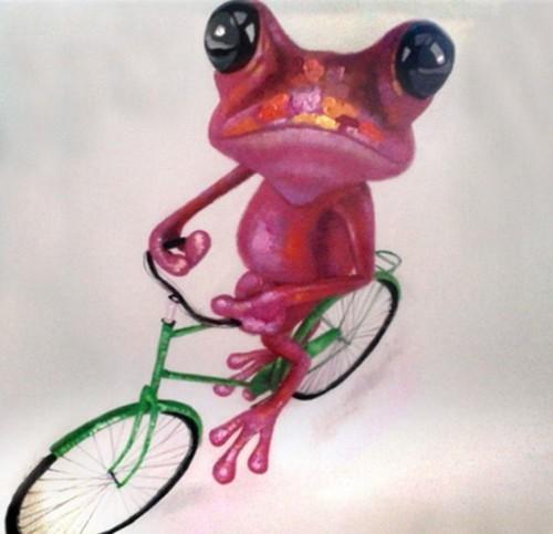 Малиновая лягушка на велосипеде 588
