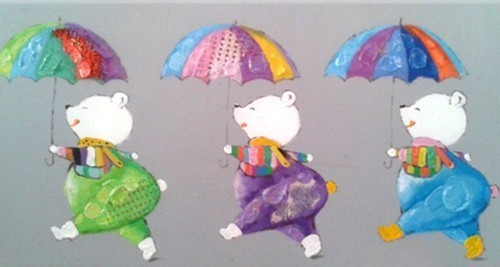 Мишки с зонтиками 608