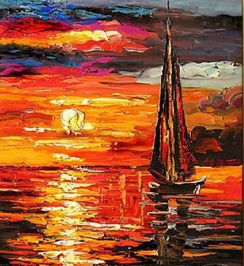 Красный закат на море 642